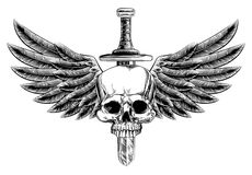 Woodcut Winged Skull Sword Insignia. Original illustration of vintage woodcut style skull and sword with eagle bird or angel wings Royalty Free Stock Images