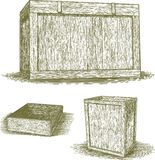 Woodcut Wooden Crates Stock Photography