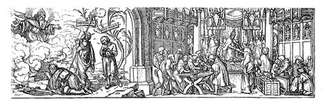 Woodcut, XVI century against Catholic indulgence Royalty Free Stock Image