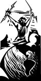 Woodcut Zeus i ziemia Fotografia Royalty Free