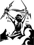 Woodcut Zeus. Woodcut style image of the Greek God Zeus Stock Image