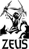 Woodcut Zeus text Stock Photo