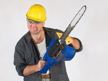 Woodcutter. Man of action on white background Stock Photography