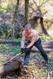 Woodcutter cut a trunk with an ax Stock Images