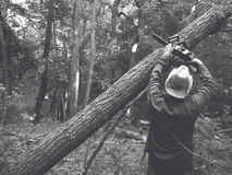 Woodcutter in the forest with a chainsaw Royalty Free Stock Photo