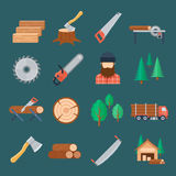 Woodcutter icon set Stock Images