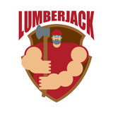 Woodcutter logo. Lumberjack sign. lumberman symbol. feller with Royalty Free Stock Image