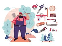 Woodcutter or lumberjack cutting tools and wood. Cutting tools and wood woodcutter or lumberjack vector electric saw and handsaw ax and file big fat man in vector illustration