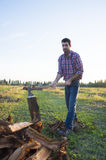 Woodcutter. Lumberman cuts wood with his strong axe Royalty Free Stock Photo