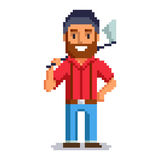 Woodcutter pixel art. Woodcutter isolated on white background.  Lumberjack pixel game style illustration. lumberman vector pixel art design. funny 8 bit people Royalty Free Stock Photo