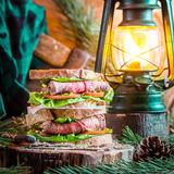 Woodcutter sandwich with beef Stock Photo
