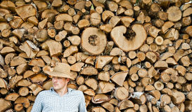 Woodcutter with straw hat on a background of wood Stock Photography