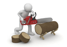 Woodcutter at work Stock Images