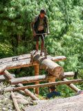 Woodcutters from Chame, Nepal Stock Image