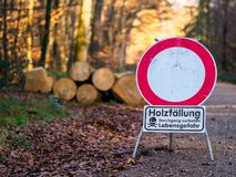 Woodcutting - Danger Ahead. Warning Sign Danger Ahead Woodcutting stock images