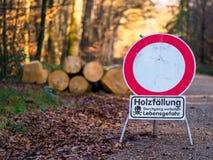 Woodcutting - peligro a continuación imagenes de archivo