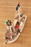 Woodden pirate ship toy stock photography