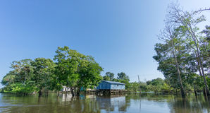 Woode houses built on high stilts over water, Amazon rainforest Royalty Free Stock Images