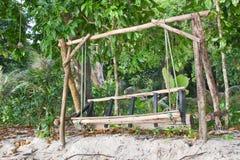 Woodeb ławka przy Surin park narodowy Zdjęcia Royalty Free