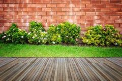 Woodecking eller durk och växt i trädgårds- dekorativt royaltyfria bilder