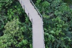 Wooded bridge in park Stock Photos