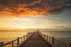 Wooded bridge with sunset Royalty Free Stock Image