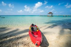 Wooded bridge to pavilion at Koh Kood island. With white sand beauty beach and kayak boat. This immage can use for Thailand, travel, relax, asia, summer, and Royalty Free Stock Photos