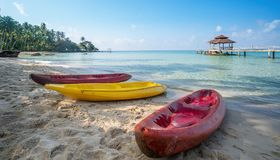 Wooded bridge to pavilion at Koh Kood island. With white sand beauty beach and kayak boat. This immage can use for Thailand, travel, relax, asia, summer, and Royalty Free Stock Photography