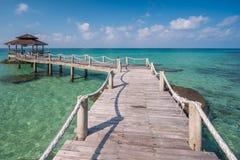 Wooded bridge to pavilion at Koh Kood island Royalty Free Stock Photos