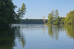 Wooded Island Reflected in Calm Lake Royalty Free Stock Photos