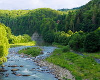 Wooded shores of the Prut River with rocky outcrops Royalty Free Stock Photography