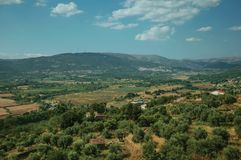 Wooded valley with the roofs of small villages stock photo