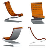 Wooden 3d chairs Stock Photos