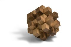 Wooden 3D puzzle Stock Photo