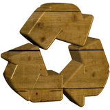 Wooden 3d Recycle Symbol Royalty Free Stock Photos