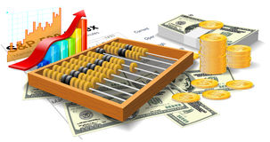 Wooden abacus, bills and coins. Royalty Free Stock Images