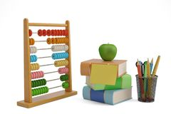 Wooden abacus and books isolated on white background 3D illustra. Tion stock illustration