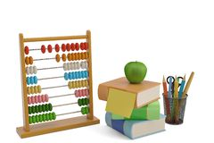 Wooden abacus and books isolated on white background 3D illustra. Tion vector illustration