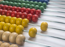 Wooden abacus. Close up wooden abacus with selective focus Stock Image