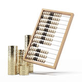 Wooden abacus with coins. Isolated on a white background. 3d render Stock Images