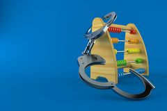 Wooden abacus with handcuffs. Isolated on blue background. 3d illustration Royalty Free Stock Photos
