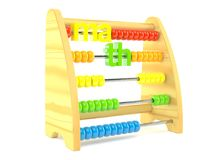 Wooden abacus with math text. Isolated on white background Vector Illustration