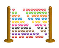 Wooden abacus with shining glass beads. Illustration of wooden abacus with colorful glass beads Royalty Free Stock Images