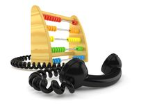 Wooden abacus with telephone handset. Isolated on white background. 3d illustration vector illustration