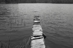 Wooden abandoned dock in a lake. Vancouver. Canada Stock Photo