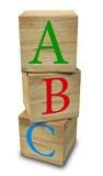 Wooden ABC. Three 3D cubes with letters ABC placed on a white background Royalty Free Stock Photo