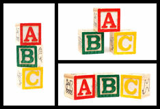 Wooden ABC blocks isolated on white background Stock Images