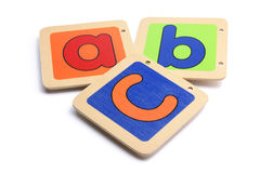 Wooden ABC Pieces. On White Background Stock Photography