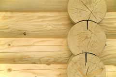 Wooden abstract. Fragment of the new house made only of wooden logs Stock Photography