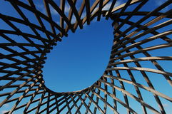 Wooden Abstract. Architectural detail against the sky stock photo